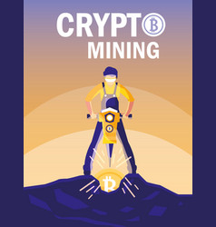 Worker crypto mining bitcoins vector