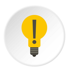 Yellow bulb with exclamation mark inside icon vector