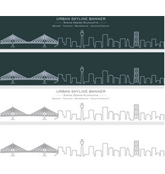 yokohama single line skyline banner vector image