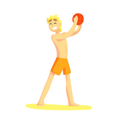 blond guy in shorts holding ball part of friends vector image vector image