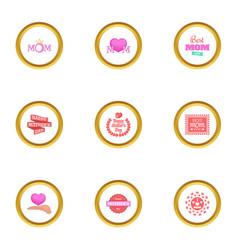 happy mama day icons set cartoon style vector image vector image