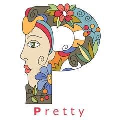 letter P pretty vector image vector image