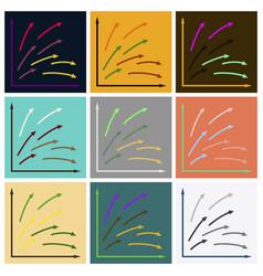Set of flat icons on stylish background arrow vector