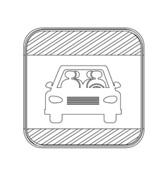 Silhouette button road sign square of car crossing vector