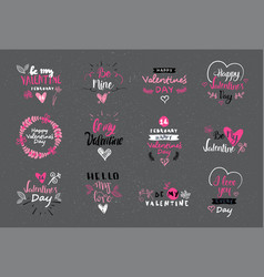 Valentine day lettering design set hand drawn vector