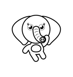 cartoon elephant animal outline vector image