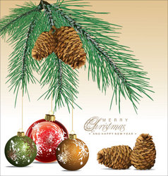 Fir tree with pine cones background vector image