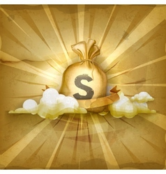 Moneybag old style background vector image