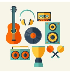 Set of musical instruments in flat design style vector image