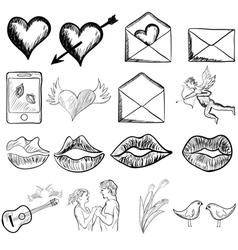 Valentines day sketch vector image vector image