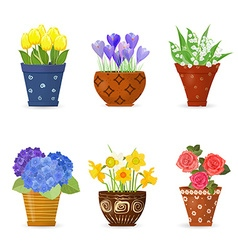 collection of cute flowers planted in art floral vector image vector image