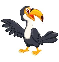Cute toucan bird cartoon waving vector image vector image