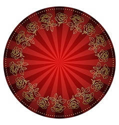 Gold roses frame on bright red round background vector