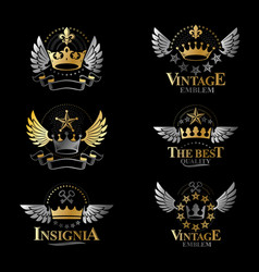 royal crowns emblems set heraldic design elements vector image vector image
