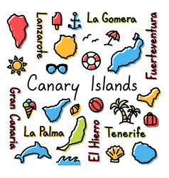 canary islands drawing doodle colorful summer vector image