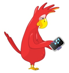 Funny Parrot Tablet User vector image vector image