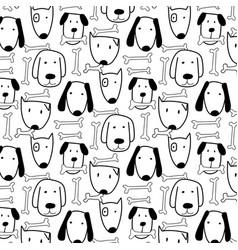 hand drawn cute dog and bone pattern vector image