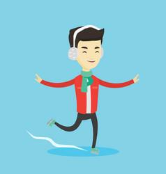 man ice skating vector image vector image