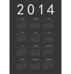 Simple black calendar 2014 vector image vector image