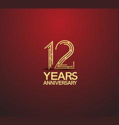 12 years golden anniversary logotype vector