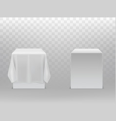 3d realistic cubes under white fabric vector image
