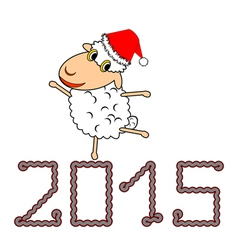 A funny Christmas cartoon sheep vector image