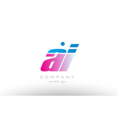 Ai a i alphabet letter combination pink blue bold vector