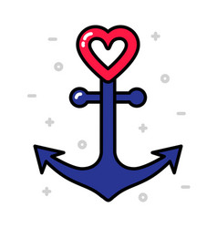 Anchor with heart nautical love concept vector
