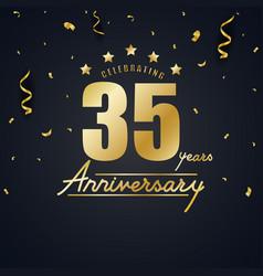 anniversary celebration design with gold confetti vector image