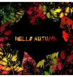 Autumn colorful leaves imprints vector image