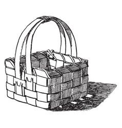 Basket made of wood shavings pine shavings are vector