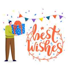 best wishes birthday celebration greeting card vector image