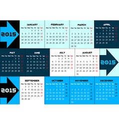 Blue infographic calendar 2015 with arrows vector image