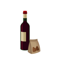 bottle of red wine and nuts in small paper bag vector image