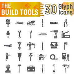 build tools glyph icon set construction symbols vector image