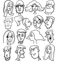 cartoon people characters faces vector image
