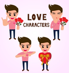 Character of man in various poses about love vector