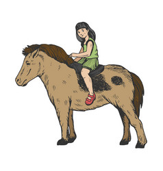child girl on pony color engraving vector image