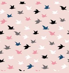 Childish colorful crane birds seamless pattern vector