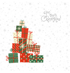 christmas greeting card with gift boxes on white vector image