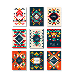 collection of card templates with ethnic patterns vector image