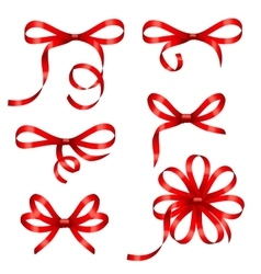 Collection Red Gift Bows Isolated vector image vector image