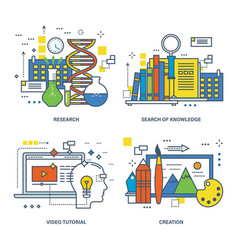 creativity research search for knowledge vector image