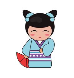 Cute kokeshi doll tradition japanese vector