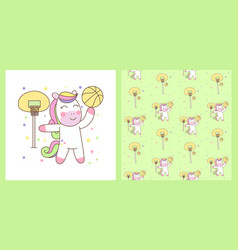cute pegasus playing basketball with pattern vector image