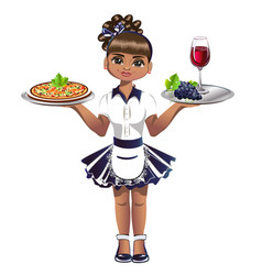 cute waitress with a tray vector image