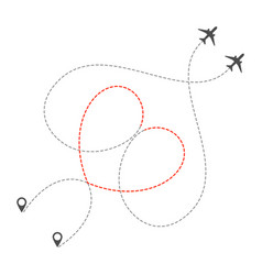 Dotted heart airplanes route vector