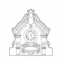Drawing of a large clock vector