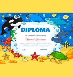 education diploma with cartoon underwater animals vector image