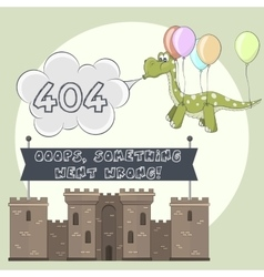 Error page 404 for web Cartoon castle and dragon vector